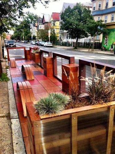 "One of the city's two new ""parklets"" is on Centre Street in Jamaica Plain."